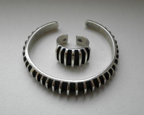 Norwegian Mid Century Anna Greta Eker Modernist Sterling 925 Bangle & Ring