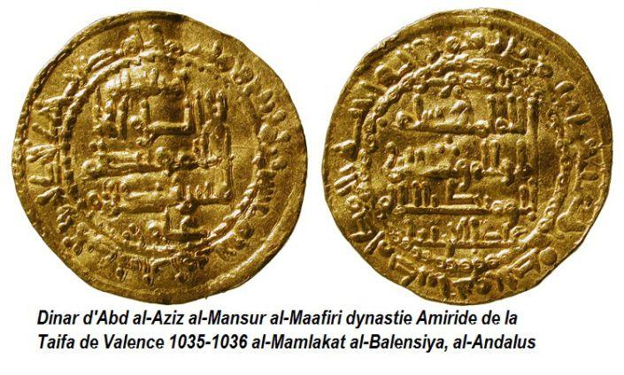 Abd al-Aziz al-Mansur. Dinar. Taifa de Valence. 1035-1036.