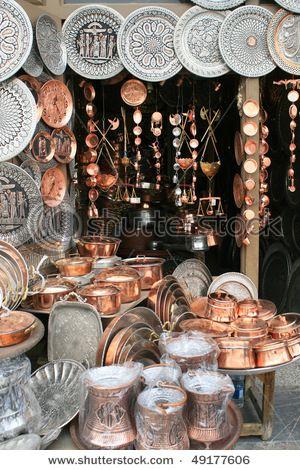 Persian decorative copper plates with traditional design