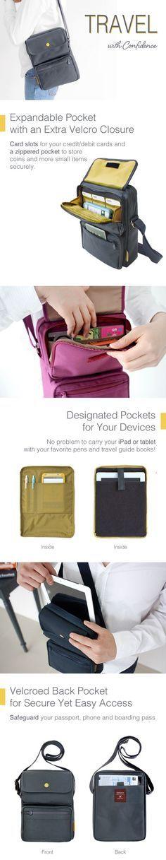 US$14.46  Women Nylon Travel Passport Bag Crossbody Travel Bag Useful Shoulder Bag