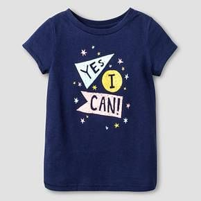 Toddler Girls' Yes I Can Short Sleeve Graphic T-Shirt Blue - Cat and Jack™ : Target
