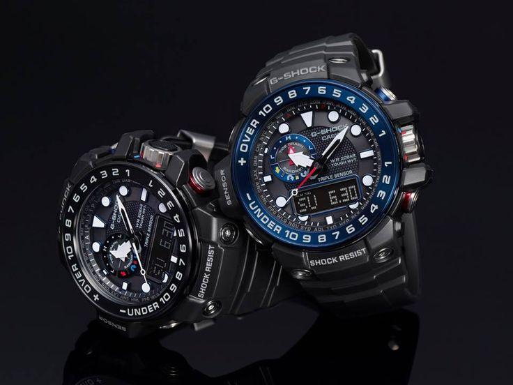 G-Shock Triple-Sensor Gulfmaster GWN1000B Ultieme watersport horloge, 20 ATM, 200 meter waterdicht duikhorloge, barometer met weer waarschuwing.