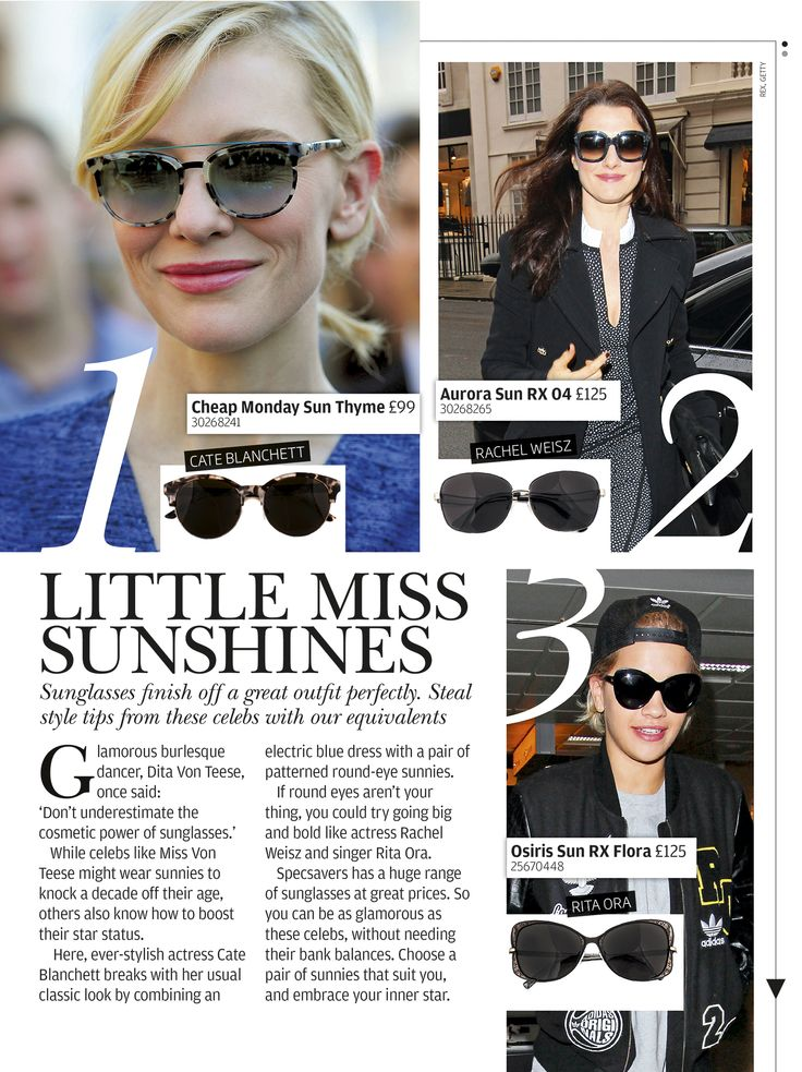 Copy celeb style by choosing from the great range of Specsavers sunglasses.