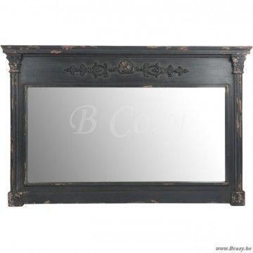 J-Line Antieke spiegel met zuilen deco antiek zwart hout 150