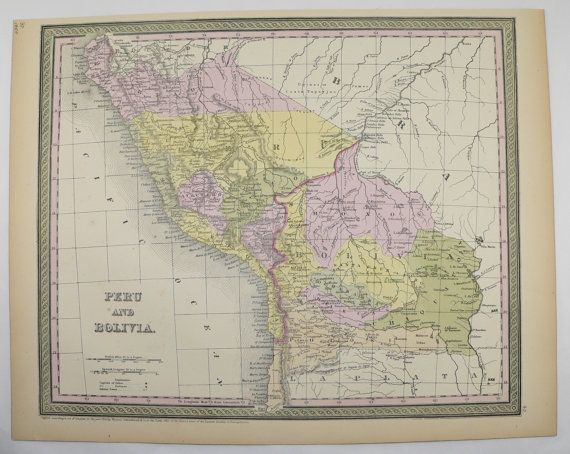 Peru Map Bolivia South America Map 1855 Mitchell Map Latin America Gift Idea for the Home Decor for the Office Travel Map Antique Wall Map by OldMapsandPrints on Etsy