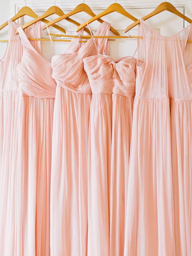 Blush bridesmaids dresses, jcrew misty rose chiffon @amyarringtonphotography