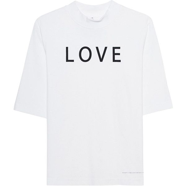Soufiane Ahaddach Love White // Cotton T-shirt with lettering ($120) ❤ liked on Polyvore featuring tops, t-shirts, crew t shirts, white cotton t shirts, cotton shirts, crew neck t shirt and white shirt