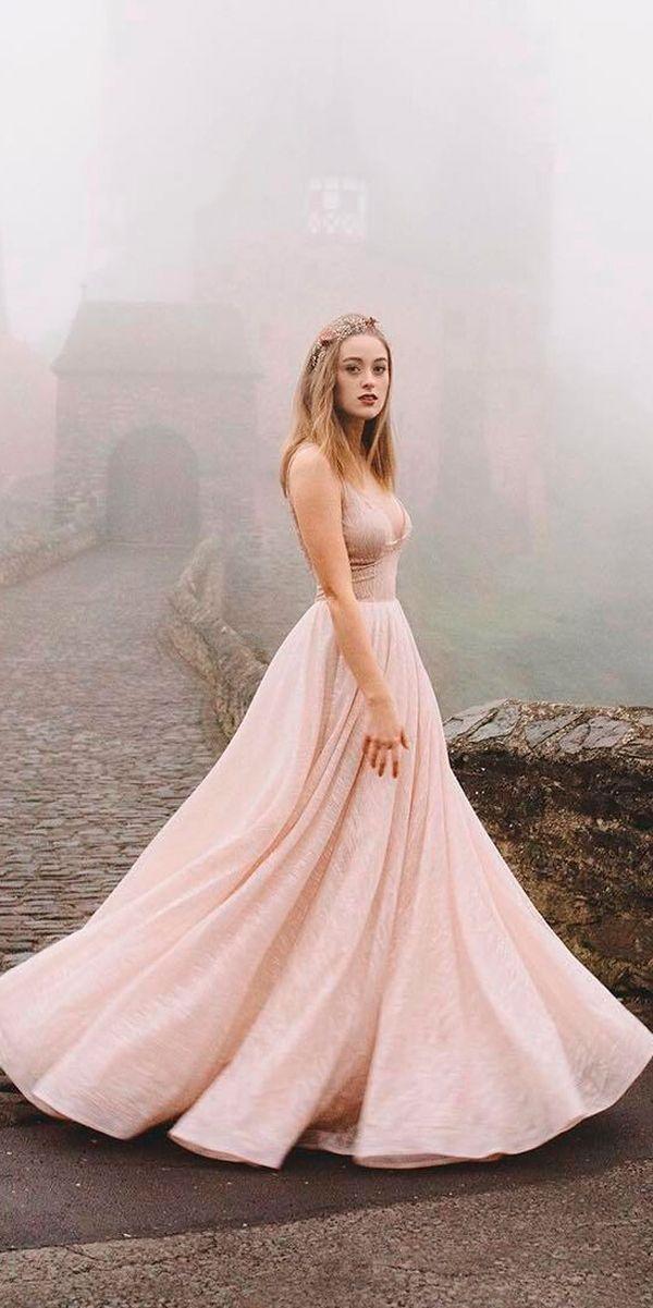 27 Peach & Blush Wedding Dresses You Must See ❤ peach blush wedding dresses a line v neckline spaghetti straps sleeveless jovanarikalo ❤ See more: http://www.weddingforward.com/peach-blush-wedding-dresses/ #weddingforward #wedding #bride