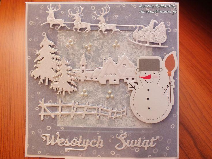 kartki świąteczne - Marianne Design Tiny's Winter Village, Cheery Lynn Santa's Sleigh and Reindeer, Impression Obsession Pine Branch Die, napisy Rosy Owl
