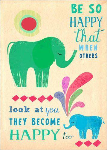Poster 50 x 70 cm: be so happy elephants von Elisandra – hochwertiger Kunstdruck, neues Kunstposter