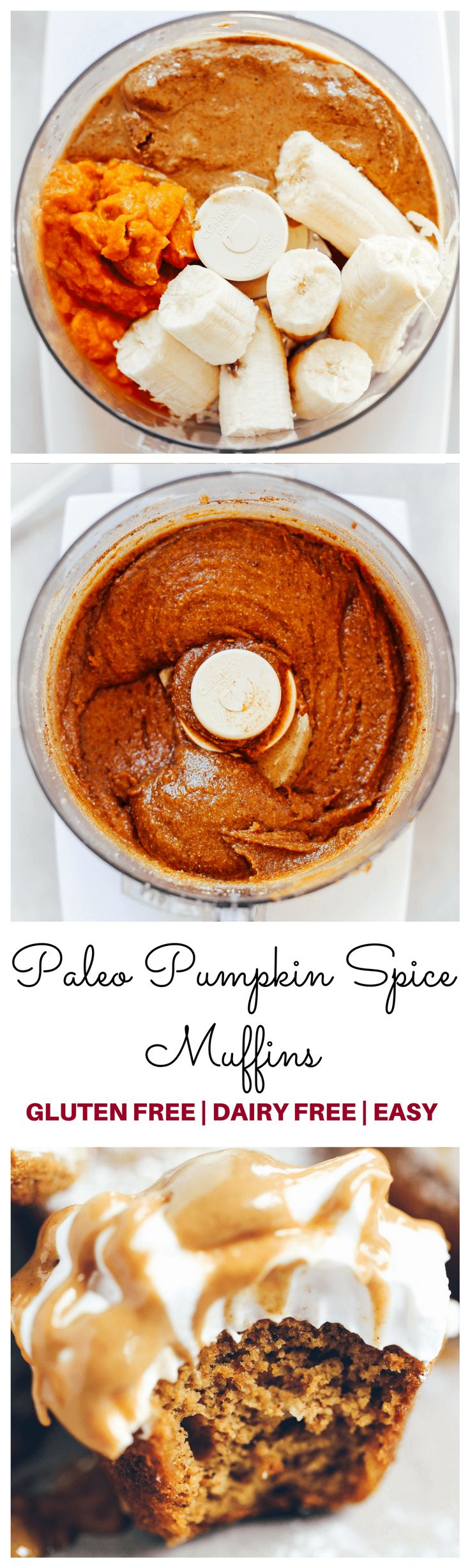 Paleo Pumpkin Spice Protein Muffins / makes 24 mini muffins / 1 mini muffin = 71 cal, 5g F, 5g C, 3g P / pumpkin, almond butter, almond flour, banana, eg, collagen peptides, maple syrup, coconut flour
