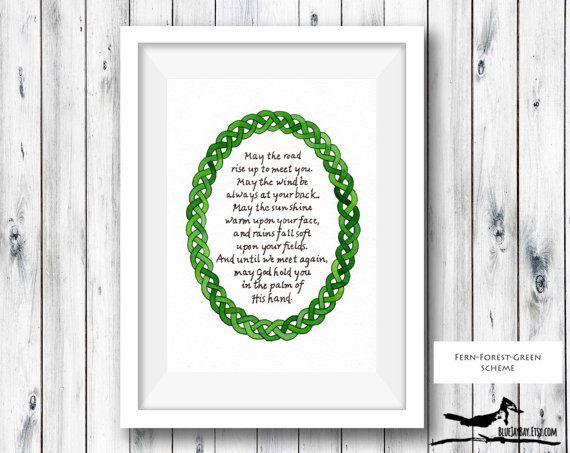 May The Road Rise  Irish Blessing  Irish Prayer Art  by BlueJayBay