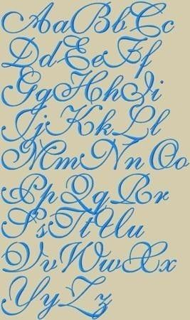 Ava Maria Embroidery Font 3 Sizes. $2.95, via Etsy.