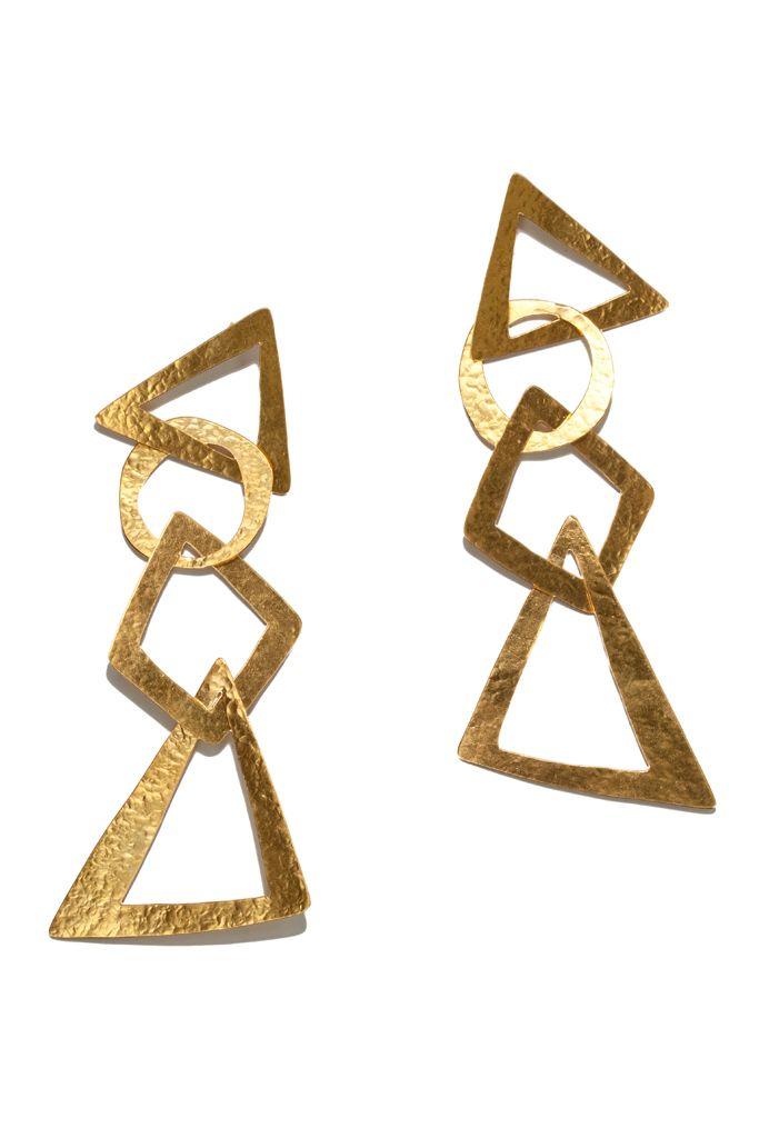 Geometric drop earrings- Herve Van der Straeten