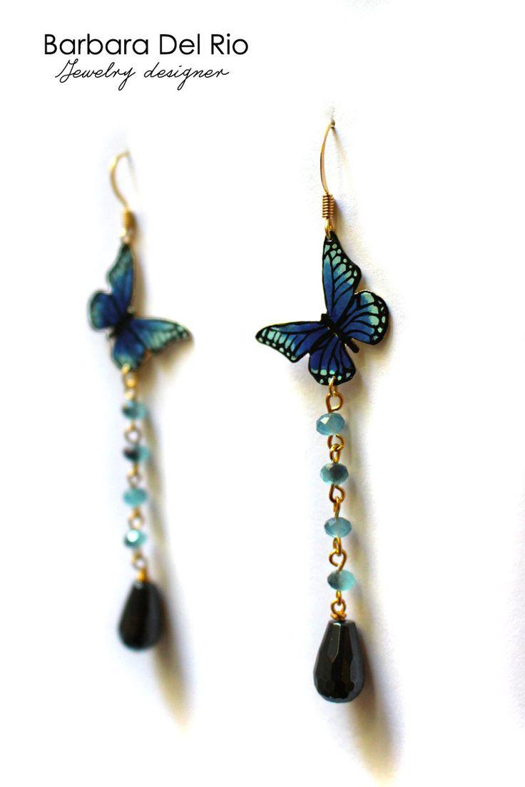 Orecchini farfalla azzurro e blu : Orecchini di barbara-del-rio