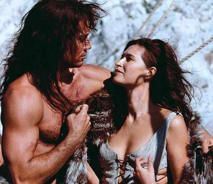 "Kevin Sorbo & Karina Lombard in ""Kull the Conqueror"" #Kevin's sexy. Love a man with chest hair & muscles"
