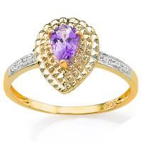 AWESOME ! 1/3 CARAT AMETHYST & DIAMOND 10KT SOLID GOLD RING