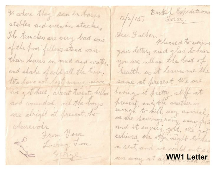 One of the many handwritten letters from World War One stored in Whittlesey Museum.