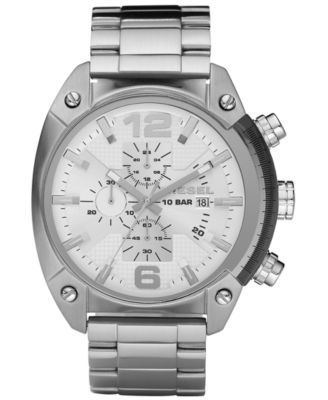 2015 $195 Diesel Watch, Chronograph Stainless Steel Bracelet 49x46mm DZ4203