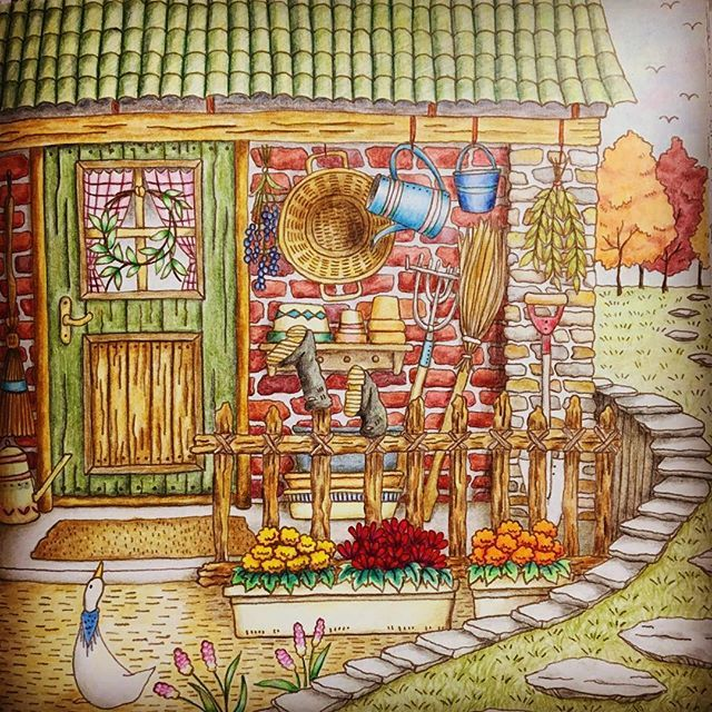 Romantic Country Coloring Book --> If you're in the market for the best coloring books and supplies including drawing markers, colored pencils, gel pens and watercolors, please visit http://ColoringToolkit.com. Color... Relax... Chill.