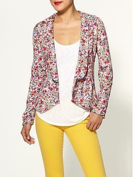 floral blazer: Light Pink Blazers, Floral Blazers, Colors Pants, Yellow Jeans, Floral Prints, Style, Colors Jeans, Yellow Pants, Spring Outfits