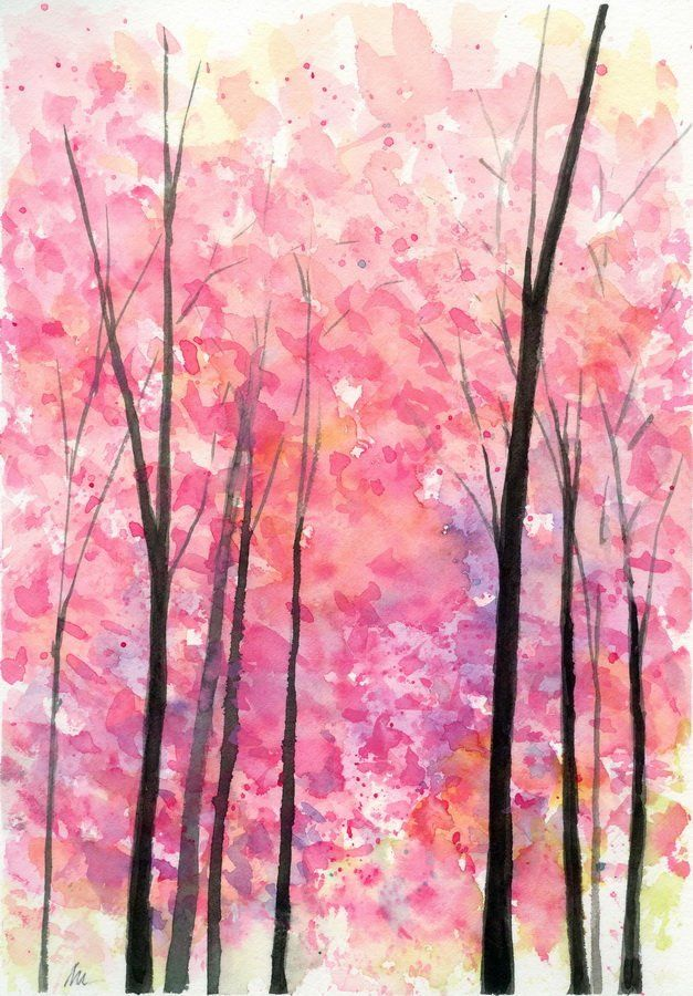 Original Watercolor Pink Trees Cherry Blossom Forest Landscape