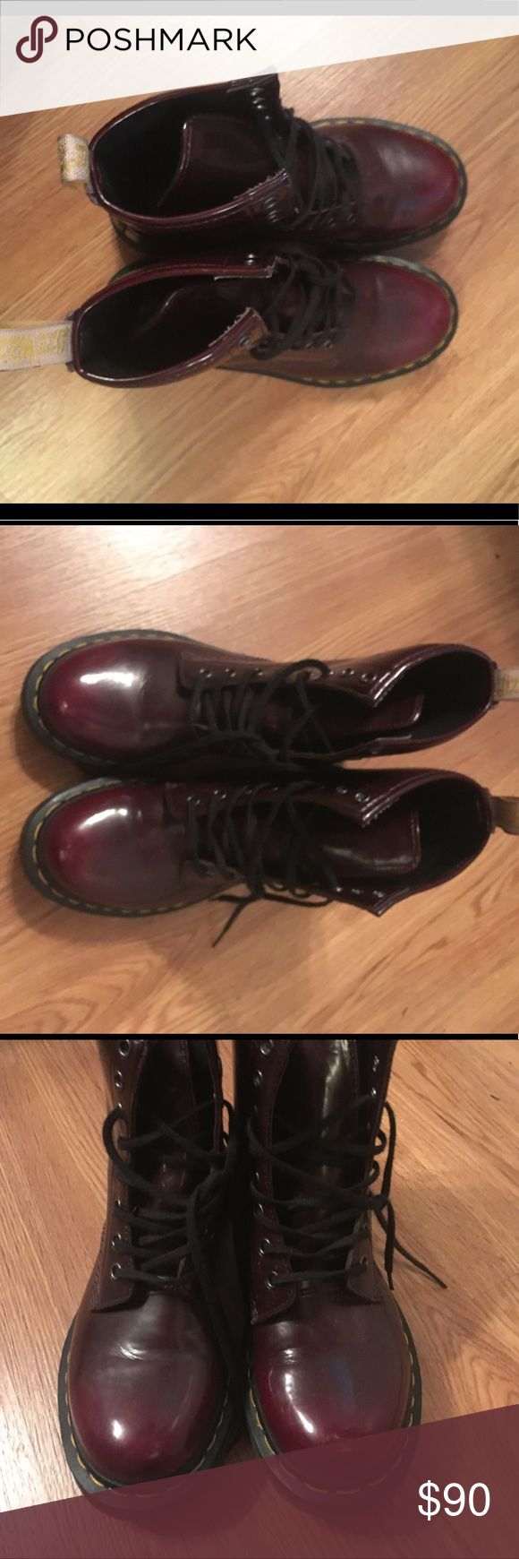 Cherry Red Doc Martens boots Cherry red Doc Martens Lace up combat boots! In excellent condition! Women's size 7 Dr. Martens Shoes Combat & Moto Boots