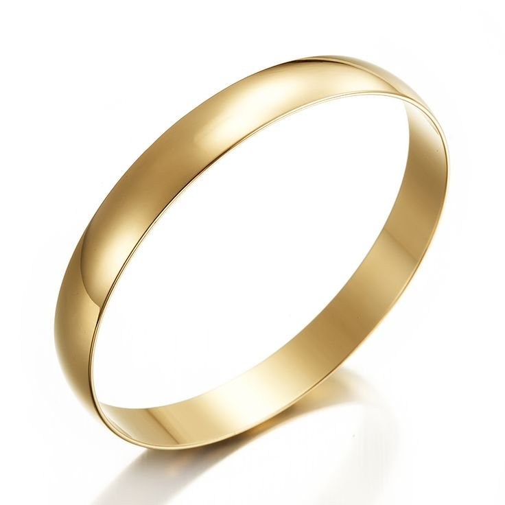 18ct Yellow Gold Layered Plain Wide Bangle | Allure Gold