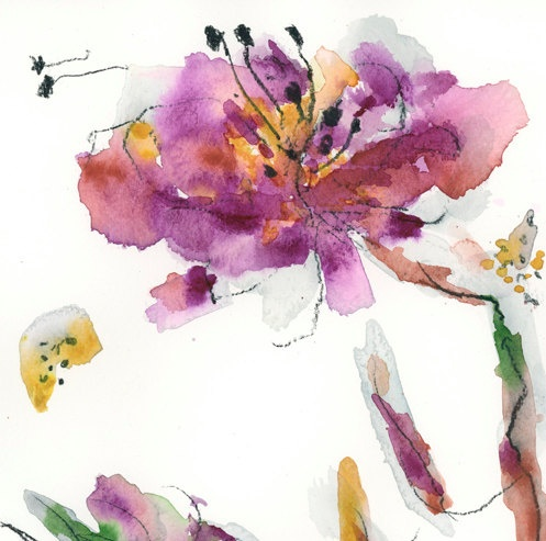 Original Watercolor Painting Abstract Flower Peony A4 8x12 ...