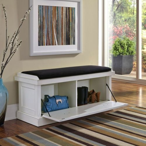 Wood Storage Bench White Distressed Upholstered Entry Chest Seat Shoe  Organizer