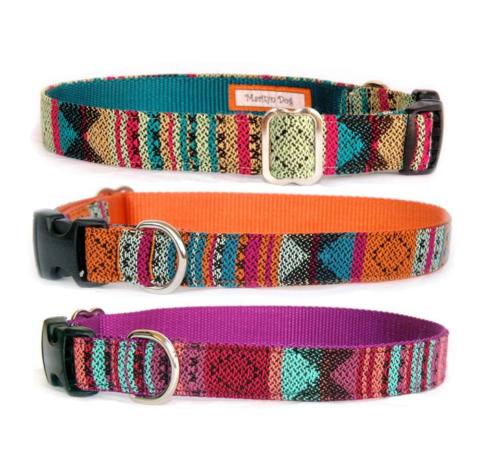 Designer dog collar Aztec Navajo Native American Tribal Mexican Southwestern ethnic stripe fabric pet collar Puppy small large dog leash by MaritynDog on Etsy