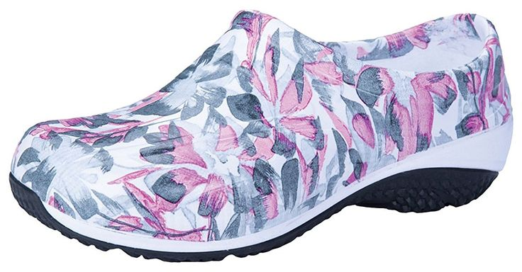 Anywear ''EXACT' Slip Resistant Injected Closed Back Clog' Water Color Your Garden 5#ad