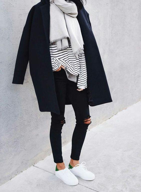 Black Jeans, Stripes + Trainers