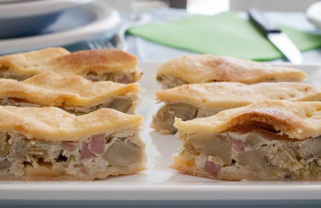 Torta salata con carciofi, ricotta e prosciutto..Antipasto ideale per i pranzi tra amici! Ricetta di Greta @profumieparole