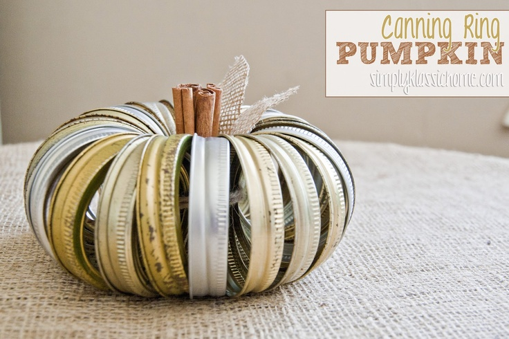 "Simply Klassic Home: My ""Junkin' Pumpkin"" {The Original Canning Jar Ring Pumpkin}"