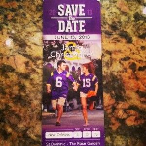These die-hard LSU Tigers fans had their 'Save the Date'' wedding invites made to look like a football game ticket in Death Valley.