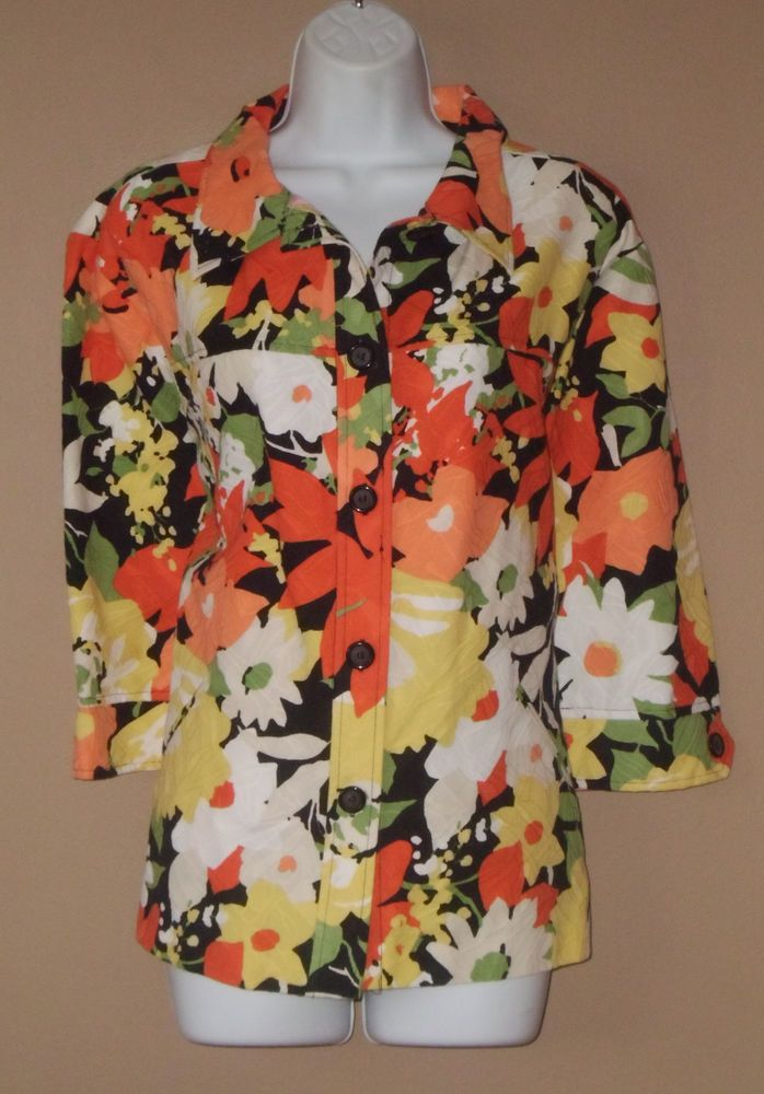 Womens Plus Size 22W 3X 3/4 Long Sleeve Orange Black Floral Coat Jacket Blazer