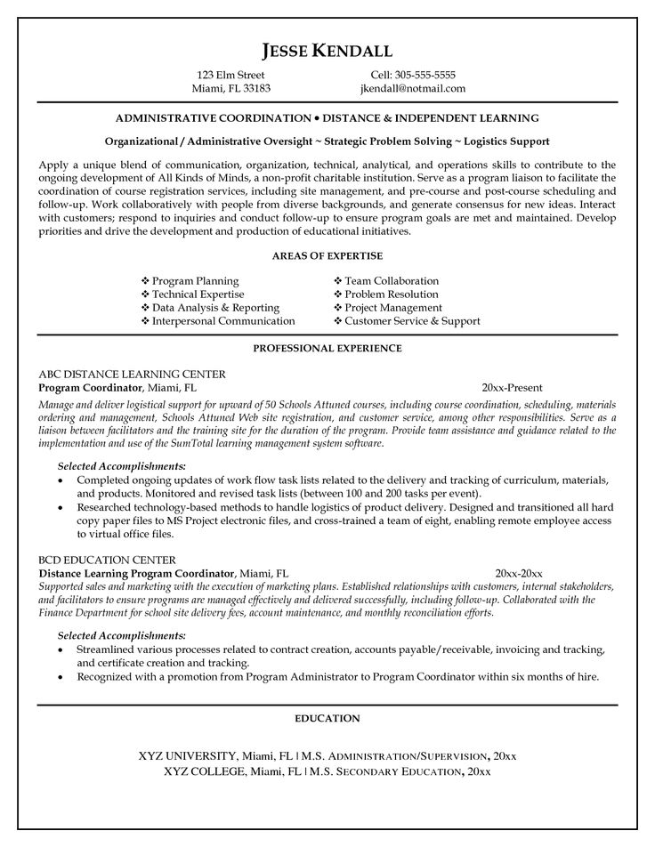 7 best Perfect Resume Examples images on Pinterest Resume - human resource coordinator resume