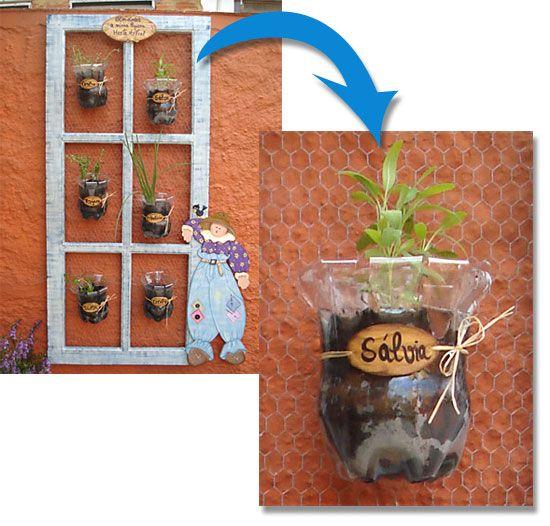 plantas para jardim vertical de garrafa pet:Cafe Y Puntadas