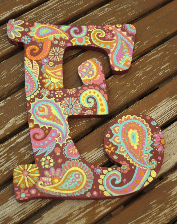 Hand Painted Wooden Paisley Letter E by ARTbyKVB on Etsy, $33.00