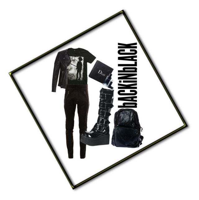 goth boy by arad1a on Polyvore featuring polyvore ISAAC SELLAM EXPERIENCE Armani Jeans Demonia Hot Topic Christian Dior AllSaints fashion style clothing