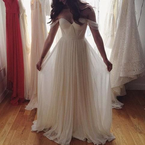 White Chiffon Off Shoulder Boho Beach Wedding Dresses Pleated Long A Line Simple Bridal Gowns Cheap Custom Made 2016 Summer Online with $111.71/Piece on Marrysa's Store | DHgate.com