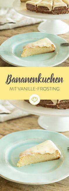 Freunde der gelben Frucht kommen bei diesem saftigen Bananenkuchen definitiv auf ihre Kosten. On Top - ein Mascarpone-Vanille-Frosting.