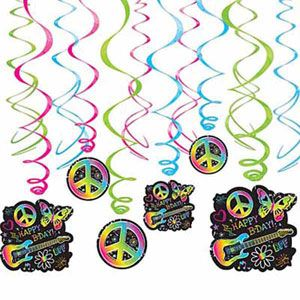 A679906 - Hanging Decorations Swirls Neon Hanging Decoration Swirls Neon Girl Happy Birthday, Includes 6 foil swirls plus 3 x foil swirls with 18cm cutouts and 3 foil swirls with 12cm cutouts. - Pack of 12 . Please note: approx. 14 day delivery