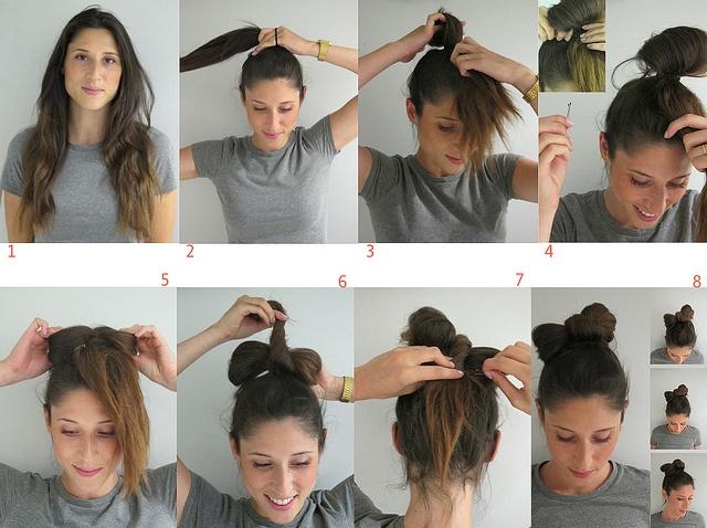 tuto chignon noeud cheveux longs