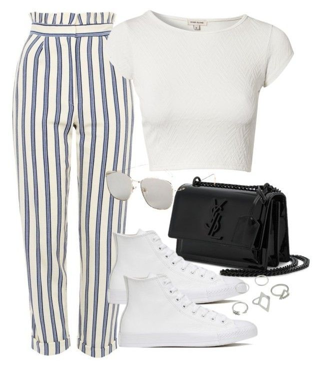 """Untitled #3138"" by camilae97 ❤ liked on Polyvore featuring Topshop, River Island, Yves Saint Laurent and Converse"