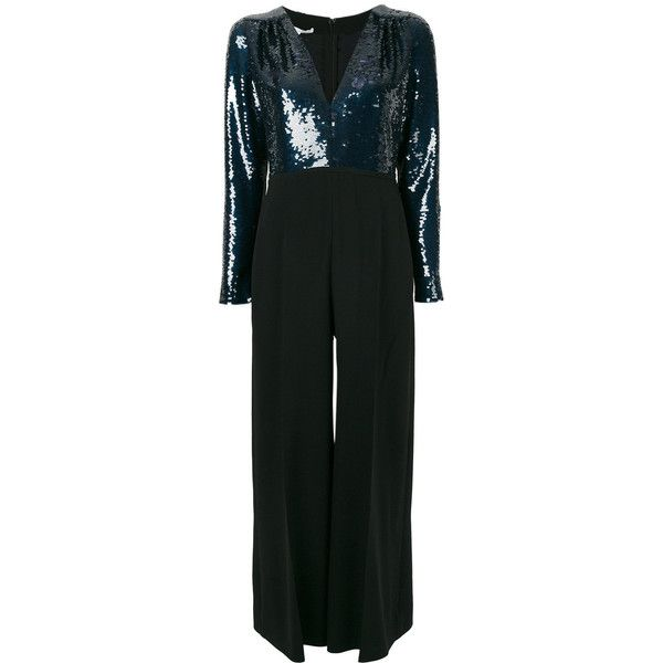 Stella McCartney sequined bodice jumpsuit ($1,796) ❤ liked on Polyvore featuring jumpsuits, black, sequin jumpsuit, plunge jumpsuit, plunging v neck jumpsuit, jump suit and wide leg jumpsuit