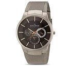 Skagen Titanium Collection Carbon Fiber Dial Titanium Bracelete Mens Watch!    I really like the dial placements as well as the titanium band design. Wears well with a dark suit with a grey stripe tie.
