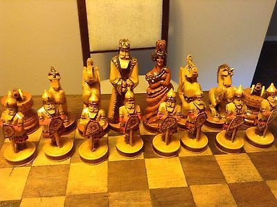 vintage carved wooden Russian figural chess set