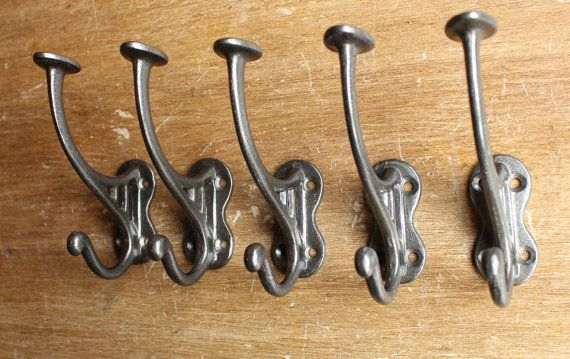 Stunning set of 5 Victorian Cast Iron Hat & Coat Hooks made from solid cast iron using an original Antique Victorian coat hook.  These are heavy